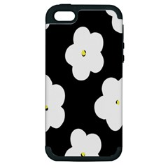 April Fun Pop Floral Flower Black White Yellow Rose Apple iPhone 5 Hardshell Case (PC+Silicone)