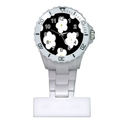 April Fun Pop Floral Flower Black White Yellow Rose Plastic Nurses Watch
