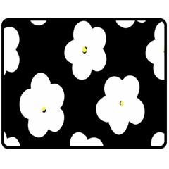 April Fun Pop Floral Flower Black White Yellow Rose Double Sided Fleece Blanket (Medium)