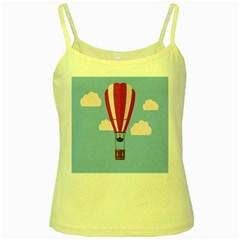 Air Ballon Blue Sky Cloud Yellow Spaghetti Tank