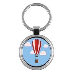 Air Ballon Blue Sky Cloud Key Chains (Round)