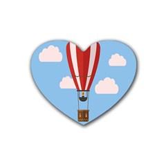 Air Ballon Blue Sky Cloud Rubber Coaster (Heart)