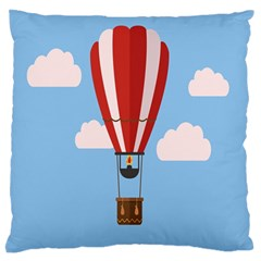 Air Ballon Blue Sky Cloud Large Flano Cushion Case (Two Sides)