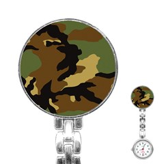 Army Camouflage Stainless Steel Nurses Watch
