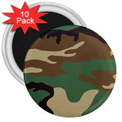 Army Shirt Green Brown Grey Black 3  Magnets (10 pack)
