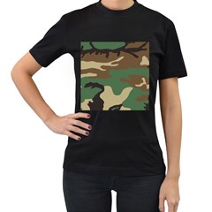 Army Shirt Green Brown Grey Black Women s T-Shirt (Black) (Two Sided)