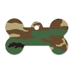 Army Shirt Green Brown Grey Black Dog Tag Bone (One Side)