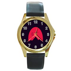 Awesome Photos Collection Minimalist Moon Night Red Sun Round Gold Metal Watch