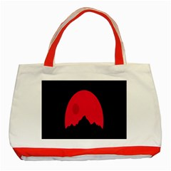 Awesome Photos Collection Minimalist Moon Night Red Sun Classic Tote Bag (red)