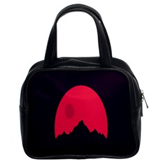 Awesome Photos Collection Minimalist Moon Night Red Sun Classic Handbags (2 Sides)