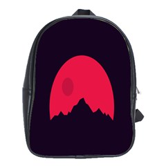 Awesome Photos Collection Minimalist Moon Night Red Sun School Bags(Large)
