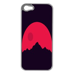 Awesome Photos Collection Minimalist Moon Night Red Sun Apple iPhone 5 Case (Silver)