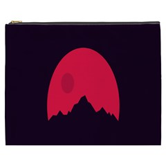 Awesome Photos Collection Minimalist Moon Night Red Sun Cosmetic Bag (XXXL)