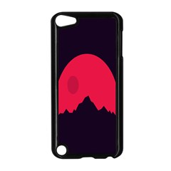 Awesome Photos Collection Minimalist Moon Night Red Sun Apple iPod Touch 5 Case (Black)