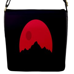 Awesome Photos Collection Minimalist Moon Night Red Sun Flap Messenger Bag (S)