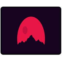 Awesome Photos Collection Minimalist Moon Night Red Sun Double Sided Fleece Blanket (Medium)