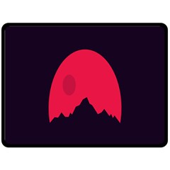 Awesome Photos Collection Minimalist Moon Night Red Sun Double Sided Fleece Blanket (Large)
