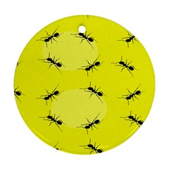 Ant Yellow Circle Round Ornament (Two Sides)