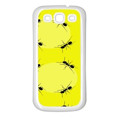 Ant Yellow Circle Samsung Galaxy S3 Back Case (White)