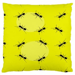 Ant Yellow Circle Standard Flano Cushion Case (One Side)
