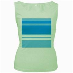 Blue Horizon Graphic Simplified Version Women s Green Tank Top