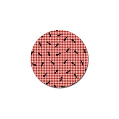 Ant Red Gingham Woven Plaid Tablecloth Golf Ball Marker (4 pack)