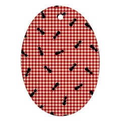 Ant Red Gingham Woven Plaid Tablecloth Oval Ornament (Two Sides)