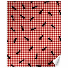 Ant Red Gingham Woven Plaid Tablecloth Canvas 16  x 20