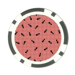 Ant Red Gingham Woven Plaid Tablecloth Poker Chip Card Guard