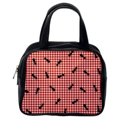 Ant Red Gingham Woven Plaid Tablecloth Classic Handbags (One Side)