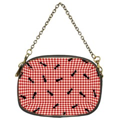 Ant Red Gingham Woven Plaid Tablecloth Chain Purses (Two Sides)