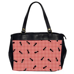 Ant Red Gingham Woven Plaid Tablecloth Office Handbags (2 Sides)
