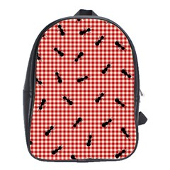 Ant Red Gingham Woven Plaid Tablecloth School Bags (XL)