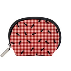 Ant Red Gingham Woven Plaid Tablecloth Accessory Pouches (Small)