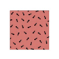 Ant Red Gingham Woven Plaid Tablecloth Satin Bandana Scarf