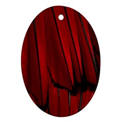 Black Red Flower Bird Feathers Animals Oval Ornament (Two Sides)