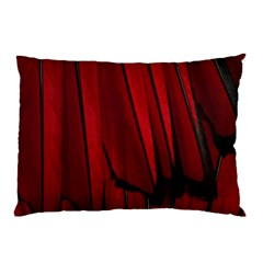 Black Red Flower Bird Feathers Animals Pillow Case (Two Sides)
