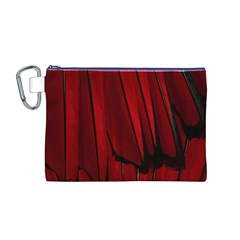 Black Red Flower Bird Feathers Animals Canvas Cosmetic Bag (M)