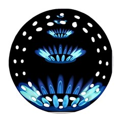 Blue Flame Round Filigree Ornament (Two Sides)