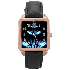 Blue Flame Rose Gold Leather Watch