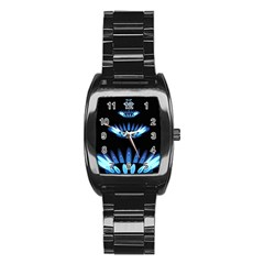 Blue Flame Stainless Steel Barrel Watch