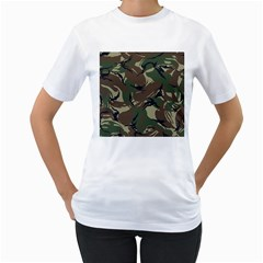 Army Shirt Grey Green Blue Women s T-Shirt (White) (Two Sided)