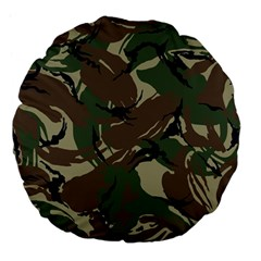 Army Shirt Grey Green Blue Large 18  Premium Flano Round Cushions