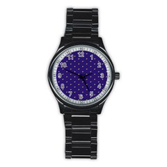 Blue Yellow Sign Stainless Steel Round Watch
