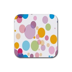Bubble Water Yellow Blue Green Orange Pink Circle Rubber Coaster (Square)