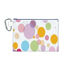 Bubble Water Yellow Blue Green Orange Pink Circle Canvas Cosmetic Bag (M)