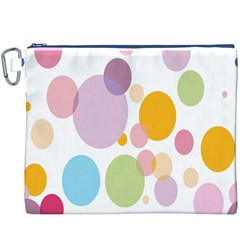 Bubble Water Yellow Blue Green Orange Pink Circle Canvas Cosmetic Bag (XXXL)