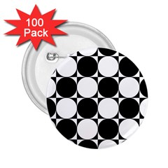 Circles Black White 2.25  Buttons (100 pack)
