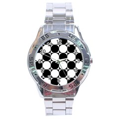 Circles Black White Stainless Steel Analogue Watch
