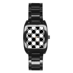Circles Black White Stainless Steel Barrel Watch